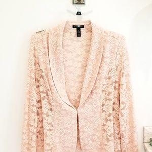 INC blush pink lace jacket blazer plus size 2X